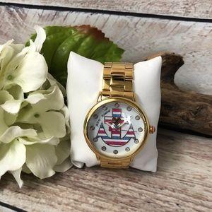 Betsey Johnson Gold Anchors Aweigh Fashion Watch